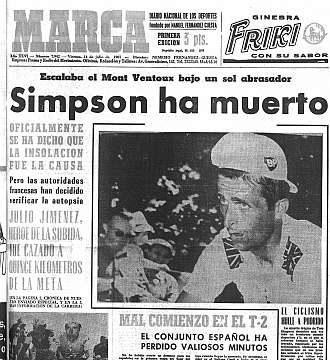 Portada del Marca el día que murió Simpson