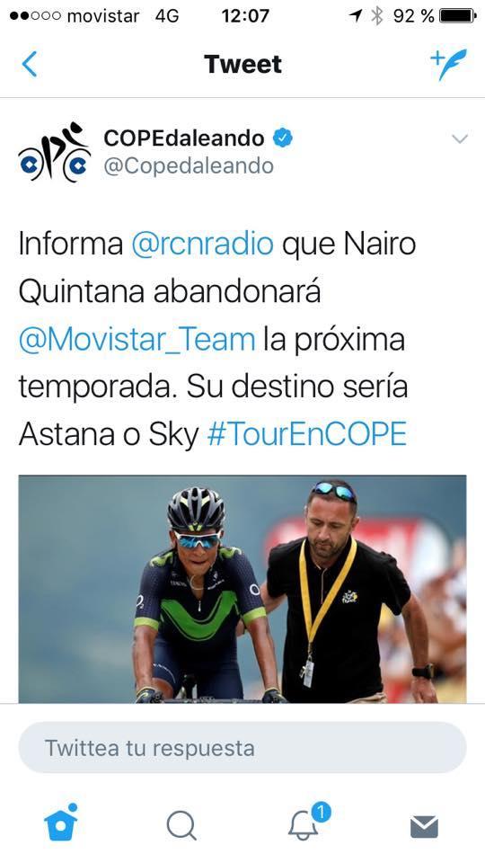Nairo se puede ir al Sky o Astana