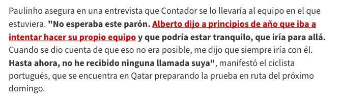 Cuando Contador no se llevó a Paulinho a Trek