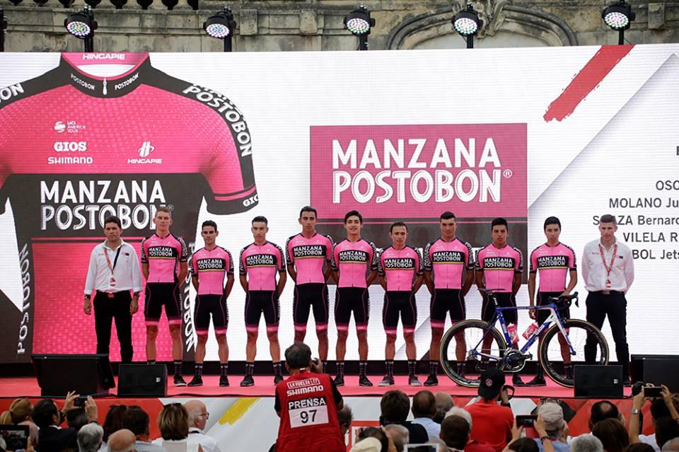 Manzana Postobon en la salida de la Vuelta