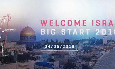 Cartel de la salida del Giro desde Israel