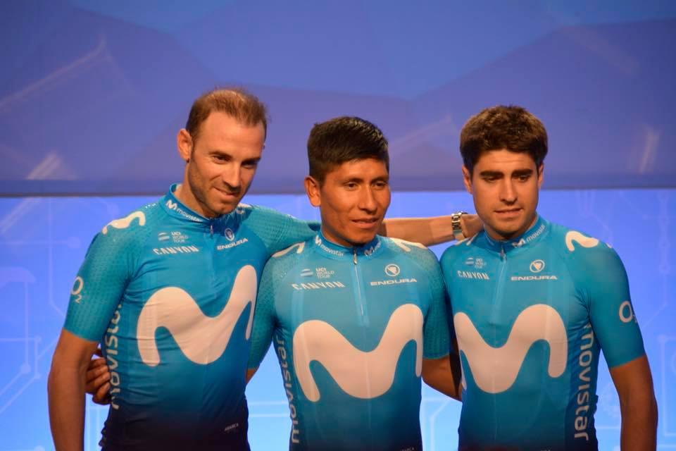 Valverde, Nairo y Mikel Landa en la presentación del Movistar Team