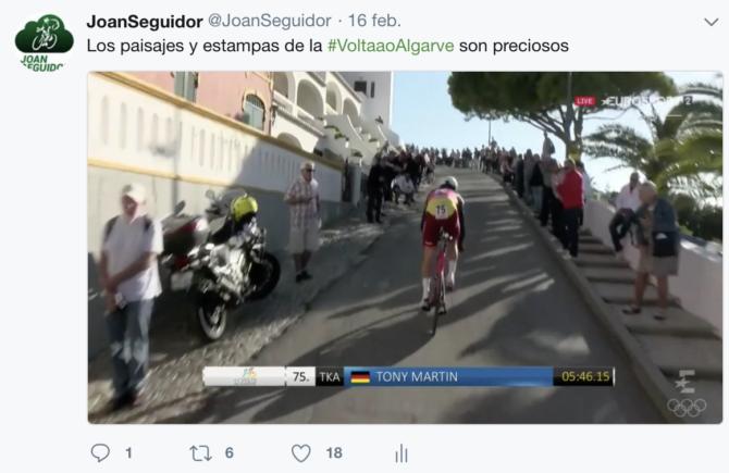 Tweet sobre Volta ao Algarve JoanSeguidor