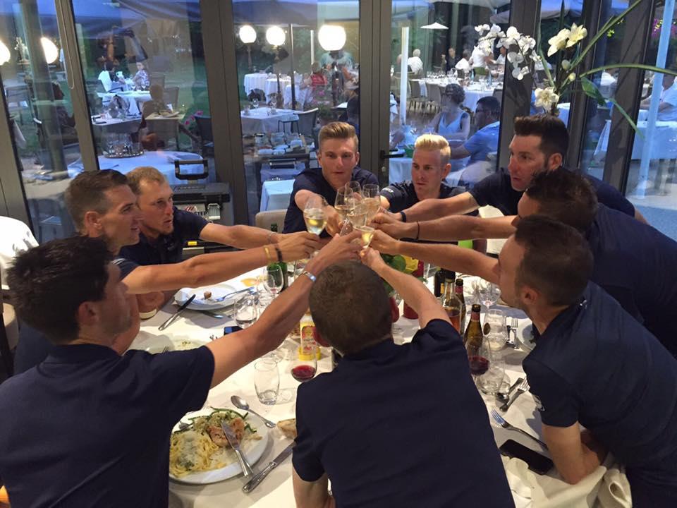 Marcel Kittel celebrando sus tres etapas en el Tour