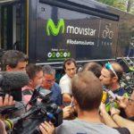 Valverde en el entreno con Movistar