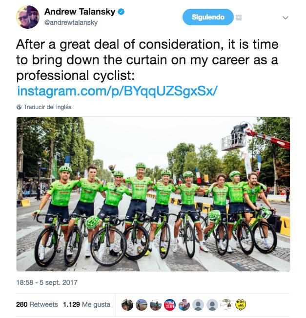 Tweet de la retirada de Andrew Talansky