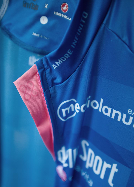 Maglia Azzurra Mediolanum Giro Italia detalle JoanSeguidor