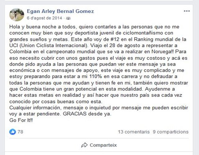 Egan Bernal Facebook JoanSeguidor